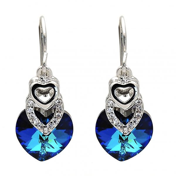 Rhodium Plated Long Earring, Heart Design, with Swarovski Crystals and Cubic Zirconia, Rhodium Tone