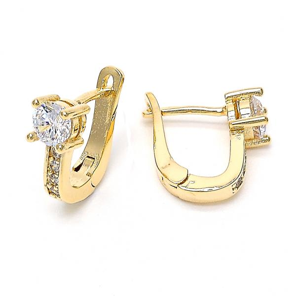 Gold Layered 02.156.0168 Huggie Hoop, with White Cubic Zirconia, Polished Finish, Golden Tone
