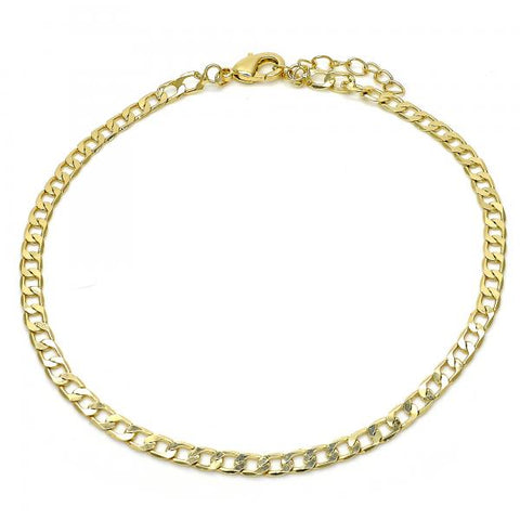 Gold Layered 04.213.0108.10 Basic Anklet, Curb Design, Polished Finish, Golden Tone