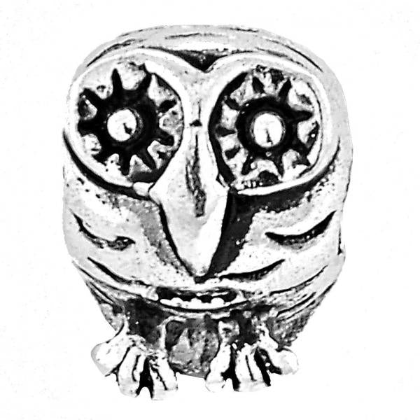Sterling Silver 05.184.0005 Love Link Pendant, Owl Design, Rhodium Tone