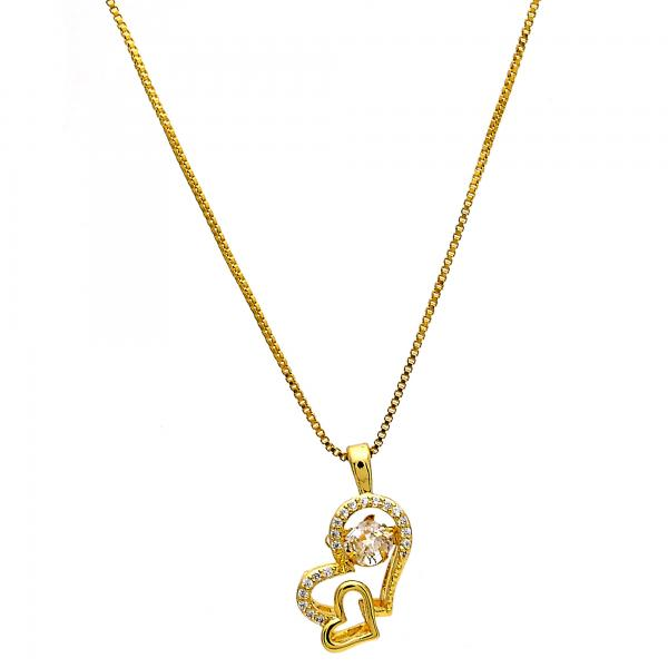 Gold Tone 04.213.0020.16.GT Pendant Necklace, Heart Design, with White Cubic Zirconia and White Micro Pave, Polished Finish, Golden Tone