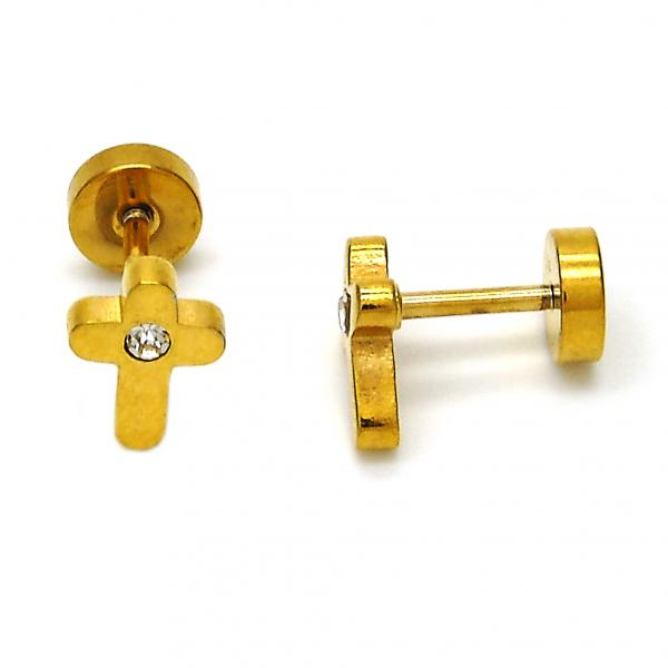 Stainless Steel 02.271.0025 Stud Earring, Cross Design, with White Crystal, Polished Finish, Gold Tone