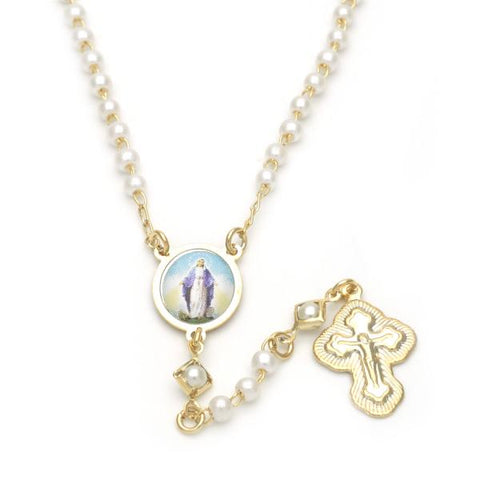 Gold Layered 09.02.0030.18 Thin Rosary, Medalla Milagrosa and Cross Design, with Ivory Mother of Pearl, Polished Finish, Golden Tone