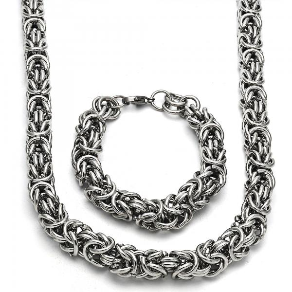 Stainless Steel 06.289.0011 Necklace and Bracelet, Polished Finish, Steel Tone