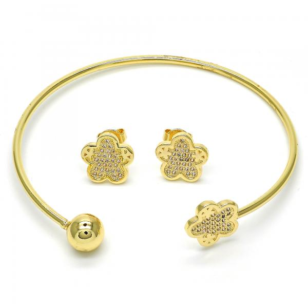 Gold Layered 13.199.0003 Set Bangle, Flower and Ball Design, with White Micro Pave, Polished Finish, Golden Tone (02 MM Thickness, One size fits all)