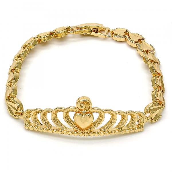 Gold Tone 03.192.0029.07.GT Fancy Bracelet, Crown and Heart Design, Diamond Cutting Finish, Golden Tone