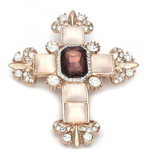 Gold Layered Religious Brooche, Cross Design, with Crystal and Opal, Golden Tone