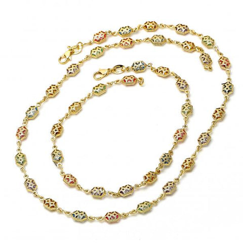 Gold Layered 04.63.1208 Necklace and Anklet, with Multicolor Crystal, Polished Finish, Golden Tone
