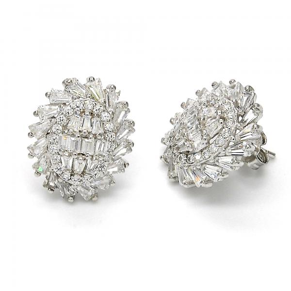 Sterling Silver 02.175.0119 Stud Earring, with White Cubic Zirconia, Polished Finish, Rhodium Tone