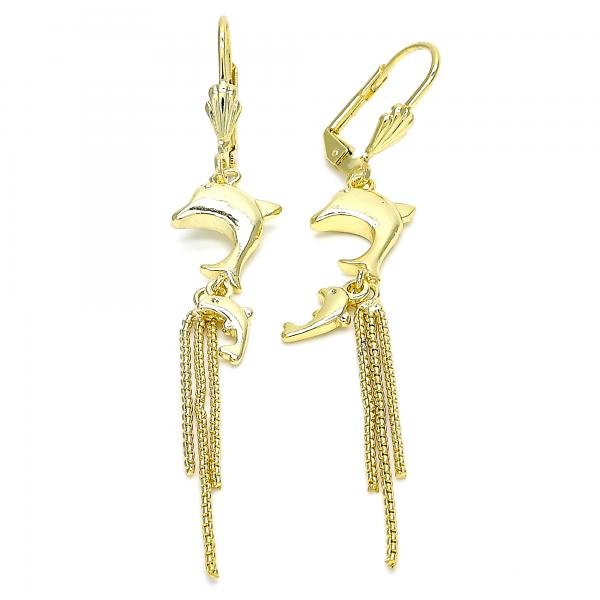 Gold Layered 02.270.0041 Long Earring, Dolphin Design, Polished Finish, Golden Tone