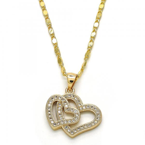 Gold Layered 04.156.0132.18 Fancy Necklace, Heart Design, with White Micro Pave, Polished Finish, Golden Tone