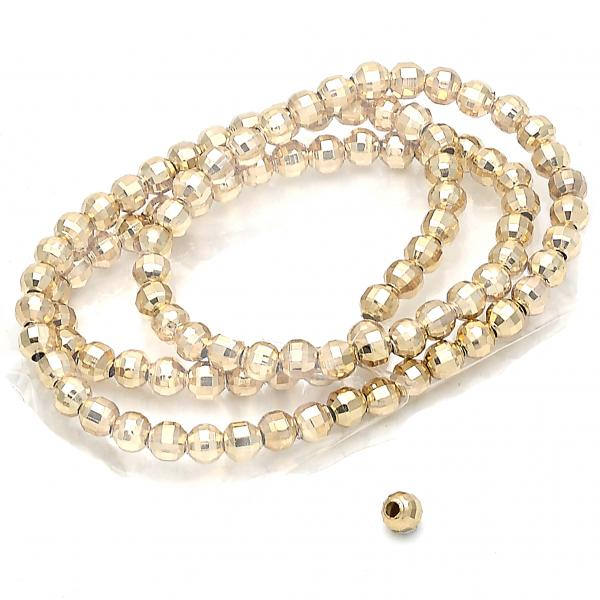 Gold Layered Bead, Ball Design, Golden Tone