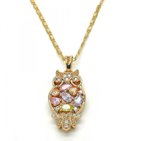 Gold Layered 04.26.0023.20 Fancy Necklace, Owl Design, with Multicolor Cubic Zirconia, Polished Finish, Golden Tone