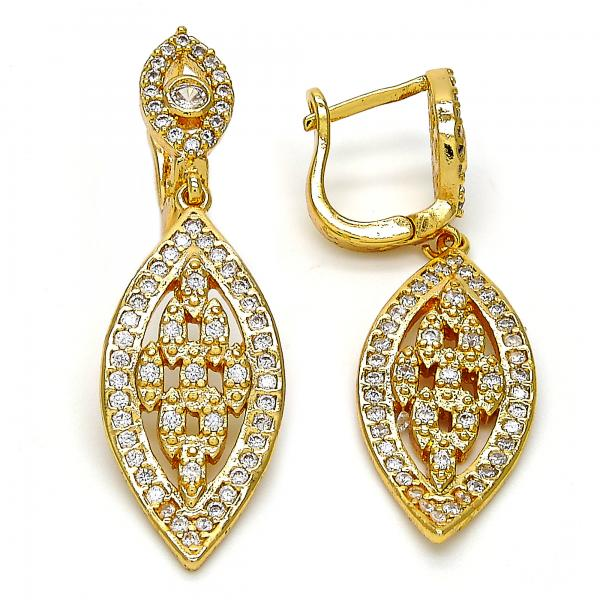 Gold Layered Dangle Earring, Leaf Design, with Cubic Zirconia, Golden Tone