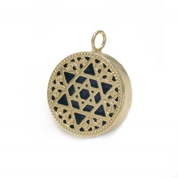 Gold Layered 05.09.0060 Fancy Pendant, Star of David and Filigree Design, Blue Enamel Finish, Golden Tone