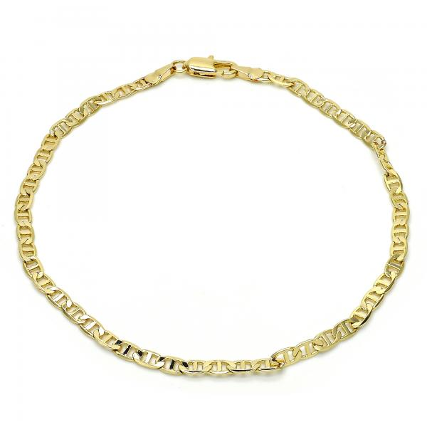 Gold Layered 03.63.1828.10 Basic Anklet, Mariner Design, Polished Finish, Golden Tone