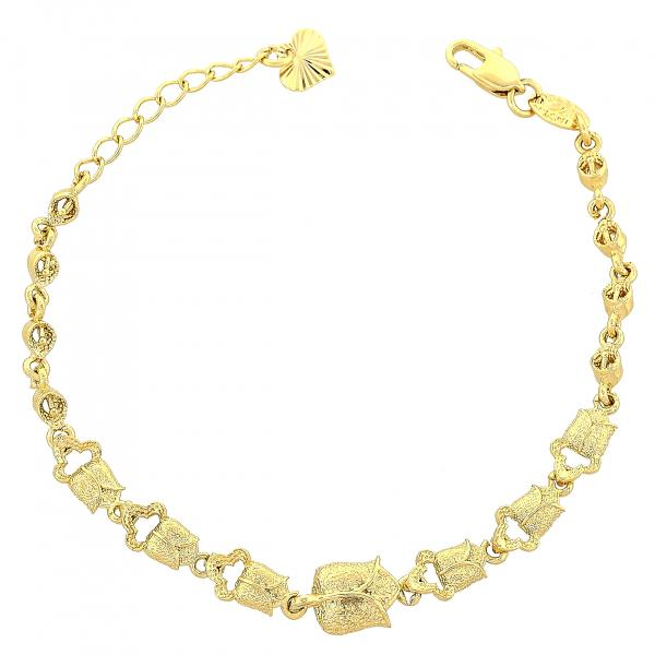 Gold Layered 5.025.003 Fancy Bracelet, Flower Design, Matte Finish, Golden Tone
