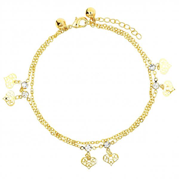 Gold Layered 03.60.0128.09 Charm Bracelet, Heart and Love Design, with White Cubic Zirconia, Polished Finish, Golden Tone