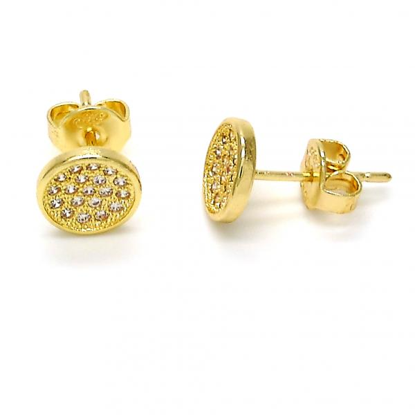 Gold Layered 02.156.0098 Stud Earring, with White Micro Pave, Polished Finish, Golden Tone
