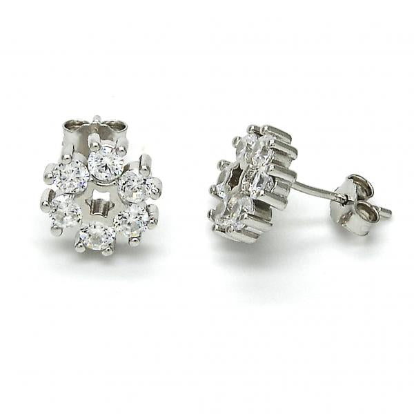 Sterling Silver 02.175.0103 Stud Earring, Flower Design, with White Cubic Zirconia, Polished Finish, Rhodium Tone