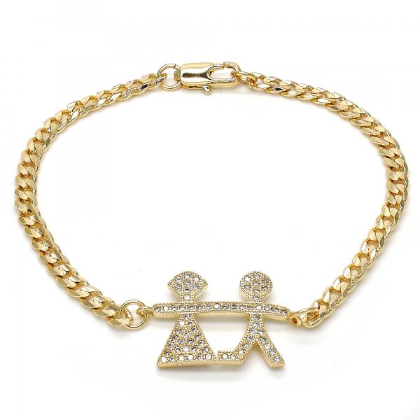 Gold Layered 03.94.0004.08 Fancy Bracelet, Little Boy and Little Girl Design, with White Micro Pave, Polished Finish, Golden Tone