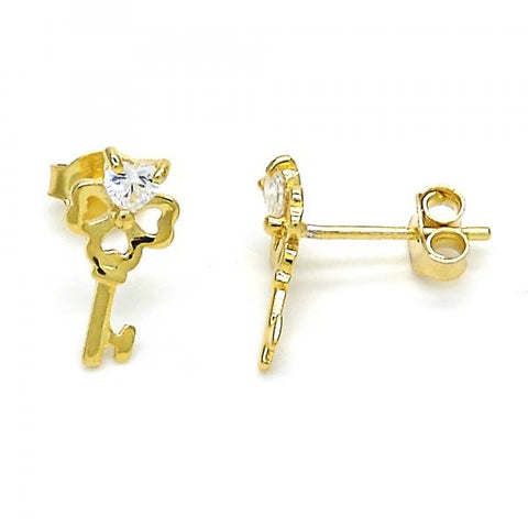 Sterling Silver 02.285.0072 Stud Earring, key and Heart Design, with White Cubic Zirconia, Polished Finish, Golden Tone