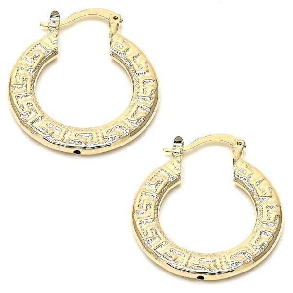 Gold Layered 02.101.0012 Medium Hoop, Greek Key Design, Diamond Cutting Finish, Golden Tone