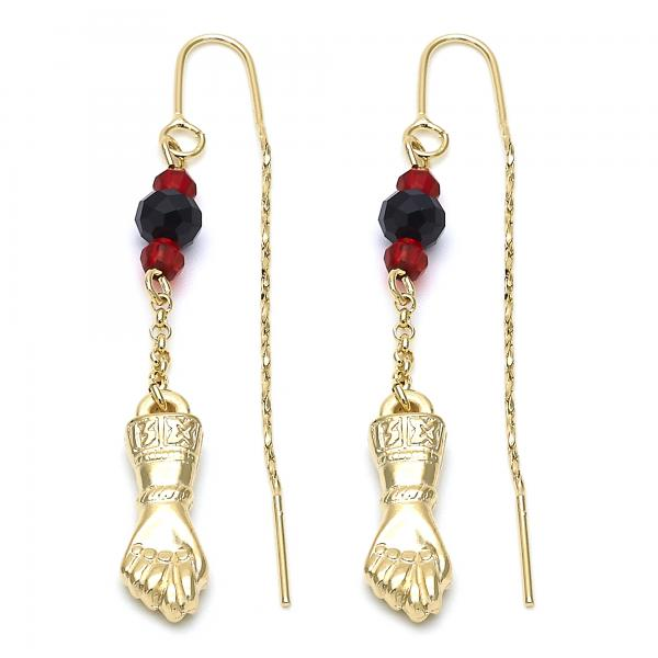 Gold Layered 02.02.0447 Long Earring, Hand Design, with Black and Garnet Azavache, Diamond Cutting Finish, Gold Tone