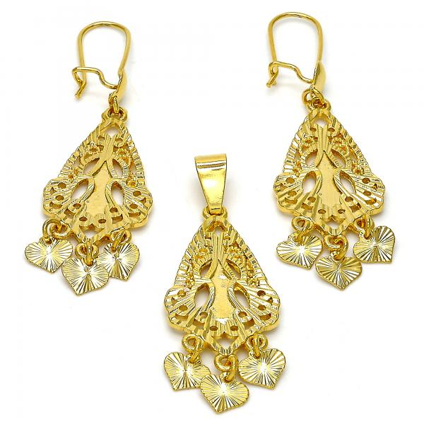 Gold Layered 10.170.0012 Earring and Pendant Adult Set, Heart Design, Diamond Cutting Finish, Golden Tone