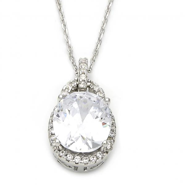 Sterling Silver 10.174.0158.18 Fancy Necklace, with White Cubic Zirconia, Polished Finish, Silver Tone