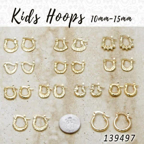 50prs of Kids Hoops (10mm-15mm) in Gold Layered ($2.00) ea