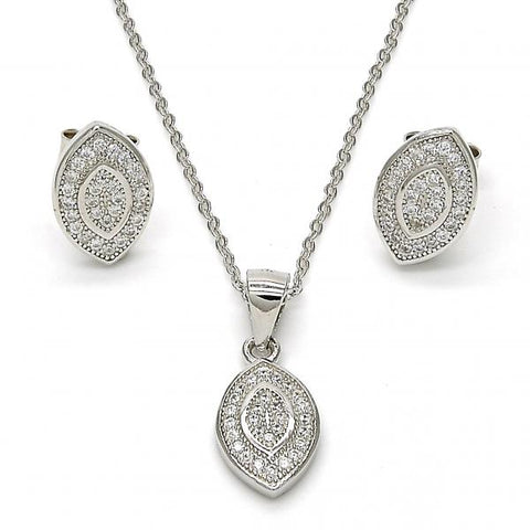 Sterling Silver 10.174.0230 Earring and Pendant Adult Set, with White Micro Pave, Polished Finish, Rhodium Tone