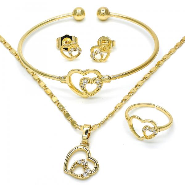 Gold Layered 06.329.0005 Earring and Pendant Children Set, Heart Design, with White Cubic Zirconia, Polished Finish, Golden Tone