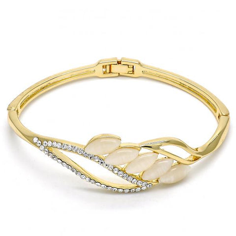 Gold Layered Individual Bangle, Leaf Design, with Opal and Crystal, Golden Tone