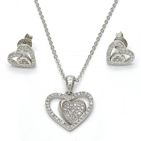 Sterling Silver 10.281.0012 Necklace and Earring, Heart Design, with White Micro Pave, Polished Finish, Rhodium Tone