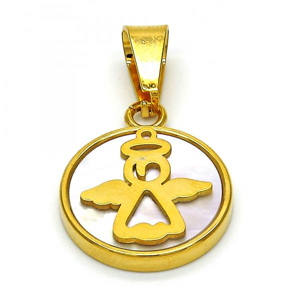 Stainless Steel 05.300.0005 Religious Pendant, Cross Design, with Ivory Mother of Pearl, Polished Finish, Golden Tone