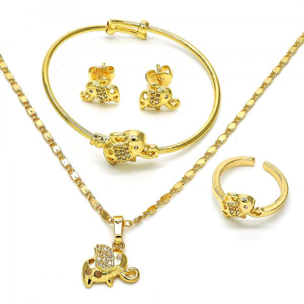 Gold Layered 06.228.0012 Earring and Pendant Children Set, Elephant Design, with White Micro Pave, Polished Finish, Golden Tone