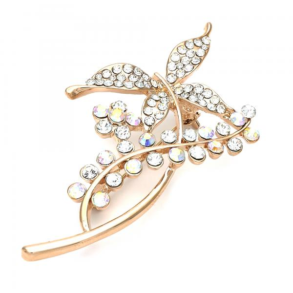 Gold Layered 13.181.0006 Basic Brooche, Flower and Butterfly Design, with White Crystal, Polished Finish, Golden Tone