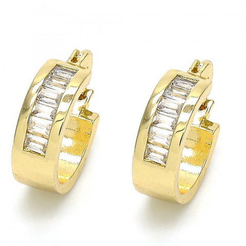 Gold Layered 02.99.0009.15 Small Hoop, with White Cubic Zirconia, Polished Finish, Golden Tone