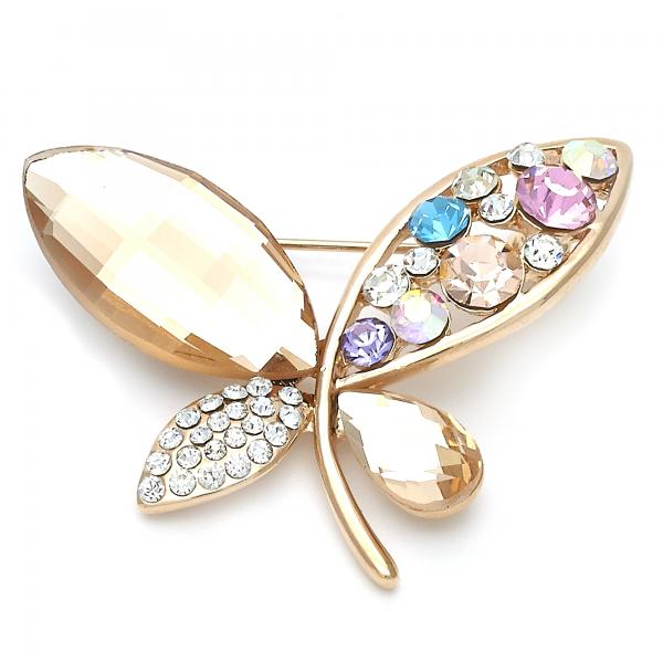 Gold Layered Basic Brooche, Butterfly Design, with Crystal, Golden Tone