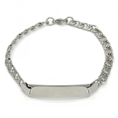 Stainless Steel 03.269.0011.08 ID Bracelet, Heart Design, Polished Finish, Steel Tone