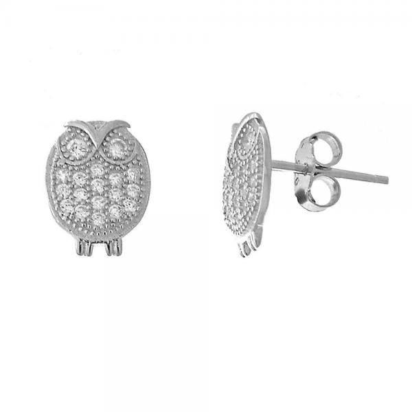 Sterling Silver 02.174.0020 Stud Earring, Owl Design, with White Micro Pave, Polished Finish, Rhodium Tone