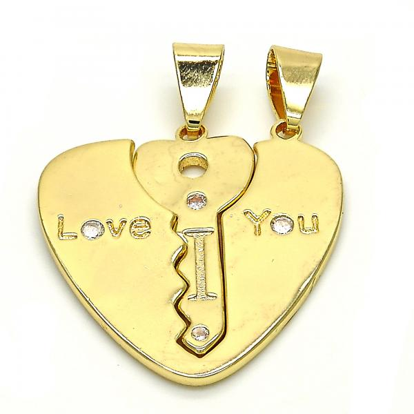 Gold Layered 05.179.0059 Fancy Pendant, key and Heart Design, with White Cubic Zirconia, Polished Finish, Golden Tone