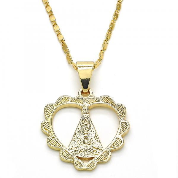 Gold Layered 04.179.0003.18 Fancy Necklace, Altagracia and Heart Design, Polished Finish, Golden Tone
