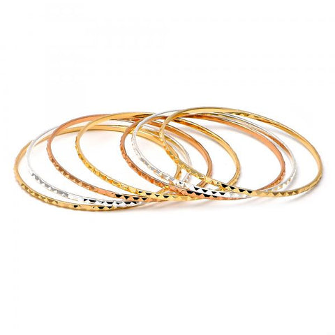 Gold Plated Semanario Bangle, Tri Tone