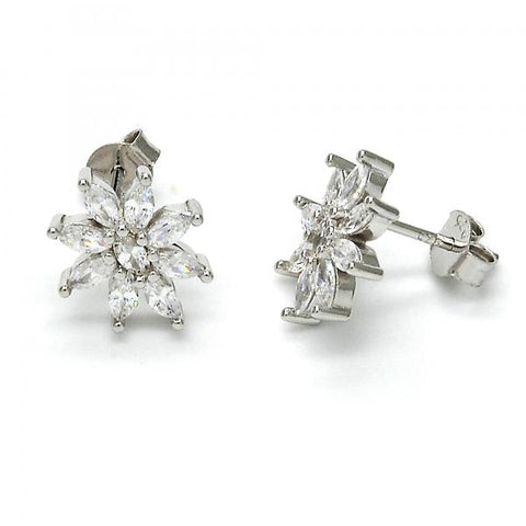 Sterling Silver 02.175.0112 Stud Earring, Flower Design, with White Cubic Zirconia, Polished Finish, Rhodium Tone