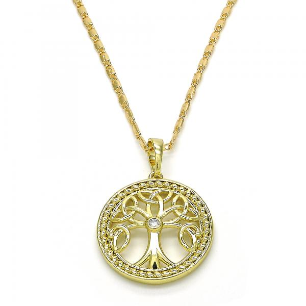 Gold Layered 04.26.0045.22 Fancy Necklace, Tree Design, with White Cubic Zirconia, Polished Finish, Golden Tone