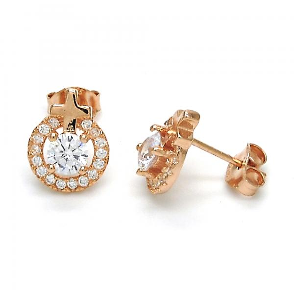 Sterling Silver 02.285.0074 Stud Earring, Cross Design, with White Cubic Zirconia, Polished Finish, Rose Gold Tone