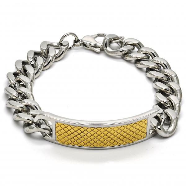 Stainless Steel 03.116.0010.08 ID Bracelet, Curb Design, Polished Finish, Two Tone