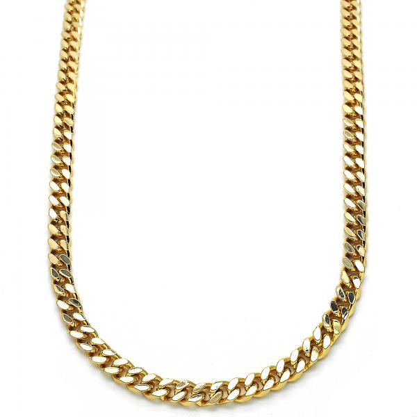 Gold Layered 04.63.1360.24 Basic Necklace, Miami Cuban Design, Polished Finish, Golden Tone